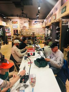 Thursday Nights at the Bug: Guides and clients gather to share a night of fly tying!